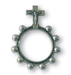 Finger-Rosenkranz mit Metallkreuz, vernickelt