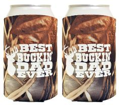 Funny Beer Coolie Best Buckin' Dad Father's Day Gift for Dad 2 Pack Can Drink Coolers Coolies Real Tree Max 4 ** Quickly view this special product, click the image : Garden tools