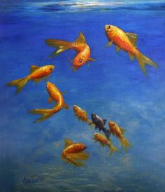 Feng Shui Fish - Original Oil Painting, painting by artist Anne Zoutsos