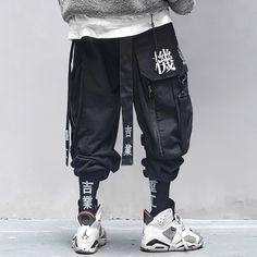 Mode Cyberpunk, Cyberpunk Fashion, Urban Fashion, Mens Fashion, Pantalon Cargo, Japanese Streetwear, Fashion Pants, Black Pants, Joggers