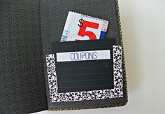 Create a paper pocket with a label maker, washi tape & a bit of paper.