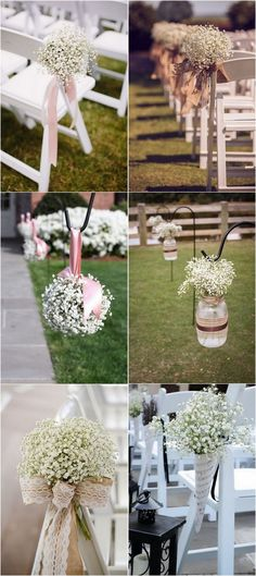 Wedding Aisle Decoration Ideas With Babys Breath Weddingflowers Weddingbouquets Weddingdecor Weddingideas