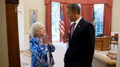 This Photo of Barack Obama Hanging Out with Betty White is Eminently Captionable