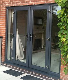 Grey French doors, love the windows next to the door. Wouldn't have to close the opening in the LR this way