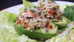 No Mayo Crab Salad Stuffed Avocados (grain-free, dairy-free) Crab Stuffed Avocado, Shrimp Avocado, Avocado Recipes, Salad Recipes, Healthy Recipes, Healthy Snacks, Mediterranean Pasta Salads, Salad With Sweet Potato, Cucumber Salad