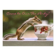 SOLD 25! Picture of Chipmunk with China Teacup Custom Invitations by http://www.zazzle.com/funnaturephotography*. #chipmunks #teaparty #invitations #tea