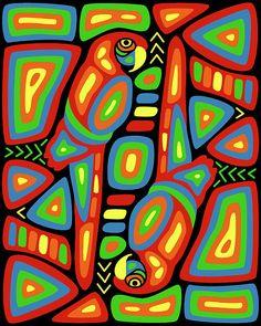 Macaw Mola by Alison Stein Madhubani Art, Madhubani Painting, Easy Art For Kids, Pancake Art, 3rd Grade Art, Remo, Mandala Drawing, Textiles, Elements Of Art