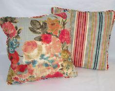 Floral & Stripe Throw Pillow Waverly HGTV Garden by PillowDetails