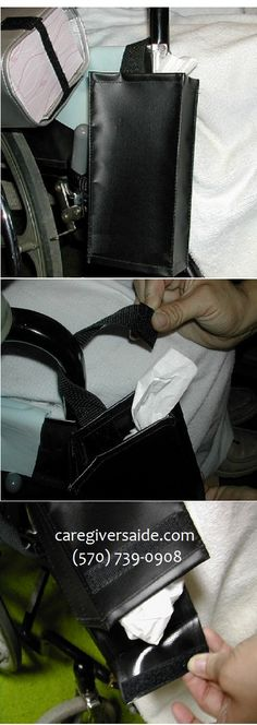 Soiled Tissue Holder   for Wheelchair    Keep soiled tissues collected    Saves steps chasing to trash bin  Convenient, discreet receptacle for wheelchair user  Holds many crumpled tissues  Wipe clean vinyl , inside and out  Attaches, detaches easily  Empty through flap at bottom  Easy assembly $19.99