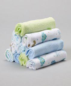 Look at this #zulilyfind! SpaSilk Blue & Green Dinosaur Washcloth Set by SpaSilk #zulilyfinds
