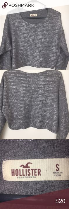 Ladies Hollister Top Crop top silver  and gray very cute! Good condition. Hollister brand. Hollister Tops