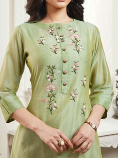 Best 12 Shop Pista green cotton round neck kurti online from India. Embroidery On Kurtis, Hand Embroidery Dress, Kurti Embroidery Design, Embroidery Neck Designs, Embroidery Fashion, Rose Embroidery, Modern Embroidery, Embroidery Ideas, Machine Embroidery