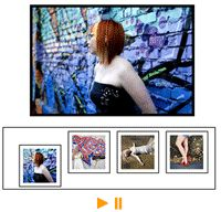Photo Slider  A simple image slide show. One disadvantage is that you need to create thumbnails images and full view images. http://www.findbestwebhosting.com/