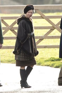 Princess Anne also joined the Queen and Prince Philip, looking stylish in all brown. Weari...