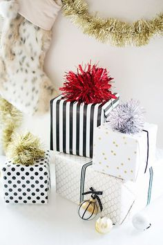 Make your presents pop with festive pom-pom toppers.