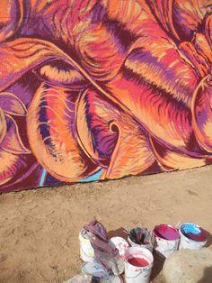 mural underway in Tucson :) Tucson, Beach Mat, Outdoor Blanket, My Arts, Fine Art, Artwork, Painting, Work Of Art, Auguste Rodin Artwork