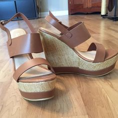 Brown summer wedges Bought from a boutique. Never worn! Brand new! Brown and tan wedges. Shoes Wedges
