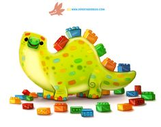 Daily Paint 1282. Legosaurus by Cryptid-Creations.deviantart.com on @DeviantArt