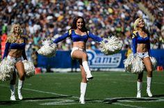 Members of the Los Angeles Rams cheerleader team perform during the second half…