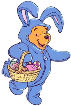 Easter Pooh Dressed in a Blue Bunny Costume