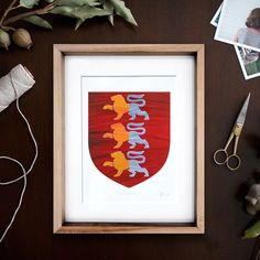 Hand-painted Single Family Coat of Arms. Our solid wooden frames are reclaimed maple floorboard which are hand in Ireland by Rocker lane Framing. The aim of Rocker lane Workshop is to produce contemporary furniture that is 100% sustainable.