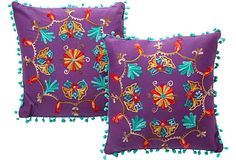 Purple Embroidered Pillows, Pair on OneKingsLane.com