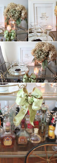 Our Holiday Décor Revealed- Holiday bar cart styling