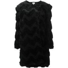 Armani Collezioni 'Eco Fur' coat (1,511,505 KRW) ❤ liked on Polyvore featuring outerwear, coats, black, armani collezioni and fur coat