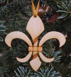 Twisted Fleur de Lis Christmas Ornament wooden  New by JohnDIron, $6.75