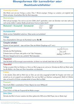 Übungsformen für Lernwörter bunt  Übungsformen für Lernwörter schwarz-weiß      4 Blätter, zum Nachschlagen für die Schüler     Mei...