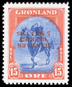 Greenland, 1945, 15öre Liberation, inverted overprint (Facit 23v1, Scott 23 var)