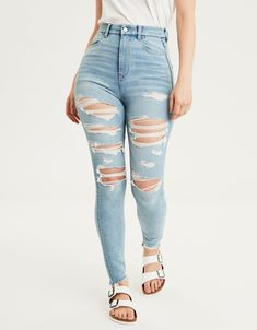 Shop American Eagle for Women's High-Waisted Jeans that look as good as they feel. Browse jeggings, skinny jeans, Curvy jeans and more in the high-waisted fit you love. Cute Ripped Jeans, Black Bootcut Jeans, Skinny Jeans, Women's Jeans, Ripped Jeggings, Nova Jeans, Denim Shorts, Mens Elastic Waist Jeans, Best Jeans For Women