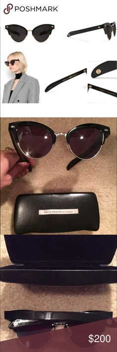 Gentle Monster x pushButton Black Sunglasses Gentle Monster x pushButton Collaboration Special Edition Sunglasses    Frame Color: Black  Lens Color: Charcoal Grey    21-55-150   Material : acetate    These sunglasses have been gently used and are in excellent shape in the original hard case. No scratches to the lenses. Gentle Monster Accessories Sunglasses