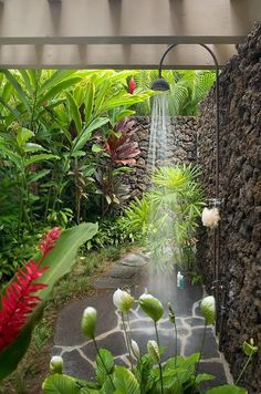 To da loos: Lava rock outdoor showers. Idea for shower with plants and floor