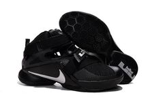 Mens Nike LeBron Soldier 9 Blackout All Black Basketball Shoe