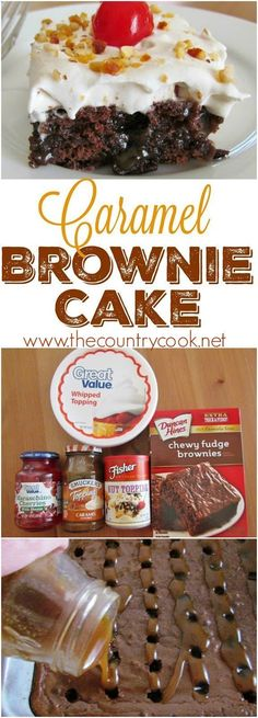 This easy Caramel Brownie Cake recipe starts off with a boxed brownie mix and poked with delicious caramel sauce and topped with whipped topping. Easy Caramel Brownie Cake Caramel Brownie Cake recipe from The Country Cook Brownie Desserts, Oreo Dessert, Mini Desserts, Coconut Dessert, No Cook Desserts, Brownie Recipes, Easy Desserts, Delicious Desserts, Coconut Cakes