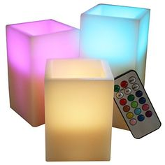 LED Lytes Flameless Candles, SQUARE Multi Color Changing Option Battery Operated Set of 3 Ivory Wax and Remote