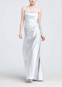 This elegant satin ball gown is simple yet stunning, and the classic silhouette will flatter any figure.  Ruched bodice creates feminine curves.  Simplicity of the strapless neckline offers a beautiful contrast to the drama of the gown.  Rich satin fabric radiates a gorgeous sheen.  A- Line Silhouette.  Fully lined. Back zip. Imported polyester. Dry clean only.  Available in our exclusive 44 color palette.  Get inspired by our colors.