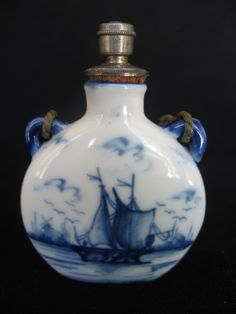 ANTIQUE DELFT CERAMIC PERFUME/SCENT BOTTLE
