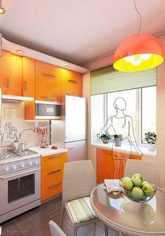 Угловая кухня в дизайне хрущевки. Фото 4