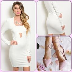 Winter White Dress This gorgeous bodycon dress features plunging neckline detail with bandeau. Back zipper closure, and long sleeves. (Shoe pic from Pinterest and not available) This closet does not trade or use PayPal. Cefian Dresses Long Sleeve