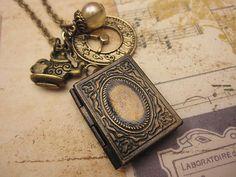Alice inspired book locket