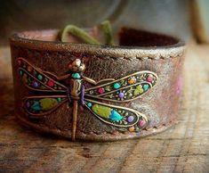 ☮ American Hippie Bohéme Boho Style Jewelry ☮ Dragonfly Cuff