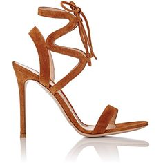Gianvito Rossi Women's Zigzag Ankle-Strap Sandals (94705 RSD) ❤ liked on Polyvore featuring shoes, sandals, heels, colorless, high heel shoes, suede shoes, clear high heel shoes, laced sandals and suede lace up sandals