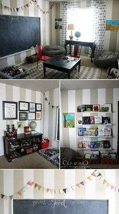 love the banner and chalkboard over striped wall