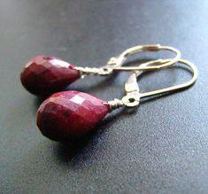 Red Ruby Earrings dangles.  Burgundy drops.  Indian natural Gemstones.  Solid Sterling Silver.  July birthstone gift.
