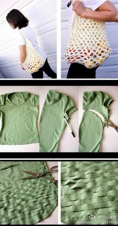 How to Make a No Sew T-Shirt Tote Bag in 10 Upcycled and Refashioned TShirt DIY Tutorials .Recycled T-shirt DIY bag Simple Cheap creative clever idea Diy Bags Easy, Simple Bags, Easy Diy, Recycled T Shirts, Old T Shirts, Sewing Crafts, Sewing Projects, Diy Crafts, Craft Ideas