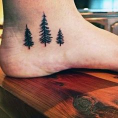 Men's Foot Pine Tree Tattoo