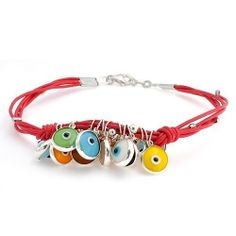 Bling Jewelry .925 Silver Red Leather Multi Color Evil Eye Charm Bracelet 7.5 Inch Bling Jewelry. $34.99. .925 Sterling Silver. Evil Eye Motif. Fits up to 7.5 inch wrist. Weighs approximately 7 grams. Lobster claw clasp. Save 52% Off!