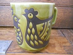 Vintage HORNSEA POTTERY England Cup Mug Olive Green Hatching Chickens Clappison
